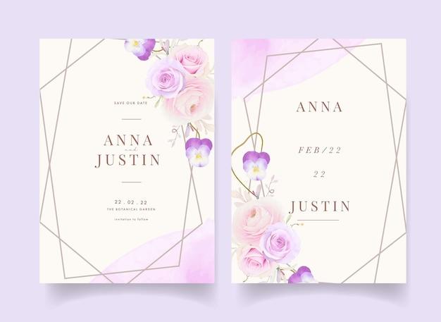 Convite de casamento com ranúnculo de rosas em aquarela e flor de amor perfeito Vetor Premium