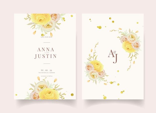 Convite de casamento com ranúnculo de rosas em aquarela e flores de anêmona