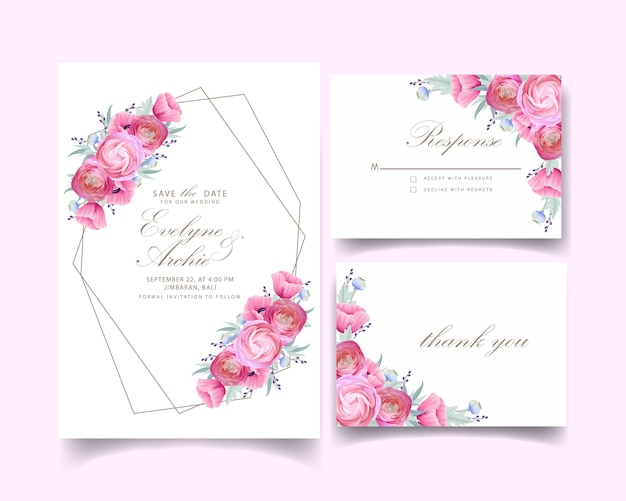 Convite de casamento com ranúnculo floral e flores de papoula