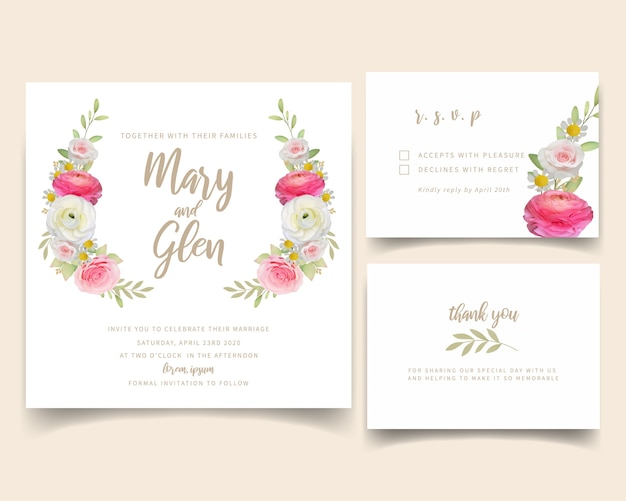 Convite de casamento com ranúnculo rosa floral e flores rosas