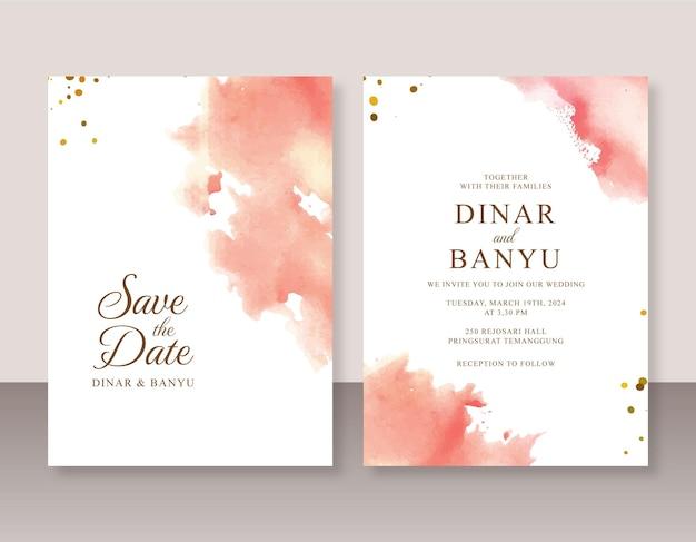 Convite de casamento com respingos de aquarela abstratos