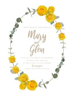 Convite de casamento com rosas amarelas florais