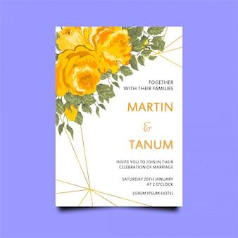 Convite de casamento com rosas amarelas