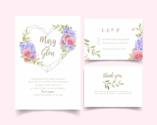 Convite de casamento com rosas e floral hortênsia