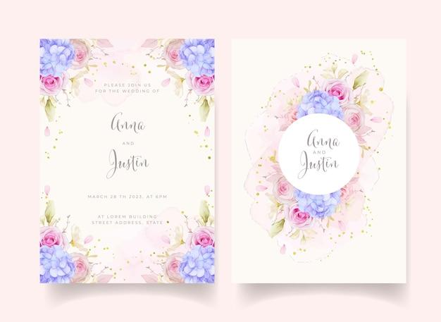Convite de casamento com rosas em aquarela e flor de hortênsia azul
