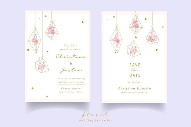 Convite de casamento com rosas em aquarela e flores de anêmona