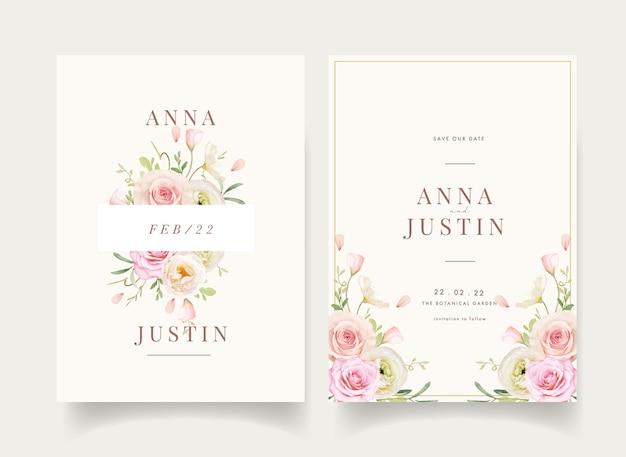 Convite de casamento com rosas em aquarela e ranúnculo