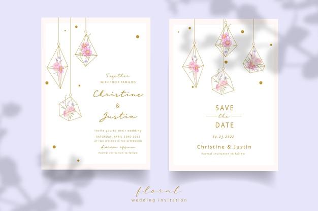 Convite de casamento com rosas florais e flores de anêmona