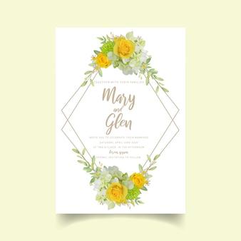 Convite de casamento com rosas florais e hortênsia