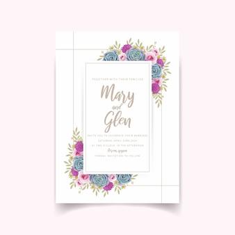 Convite de casamento com rosas florais e suculentas