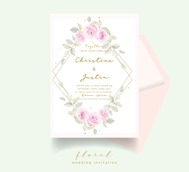 Convite de casamento com rosas florais em aquarela