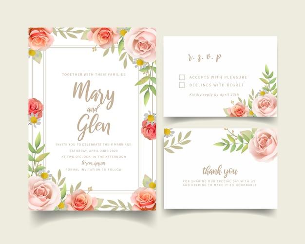 Convite de casamento com rosas florais
