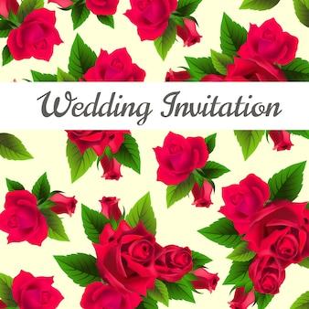 Convite de casamento com rosas vermelhas e folhas no fundo.