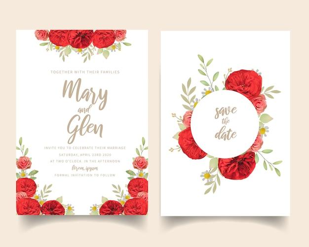 Convite de casamento com rosas vermelhas florais