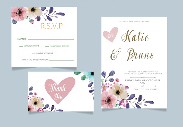 Convite de casamento com rsvp e cartão de agradecimento