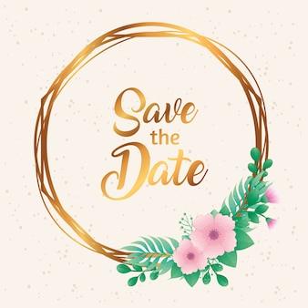 Convite de casamento com salvar a data letras e flores em ilustração vetorial de moldura dourada