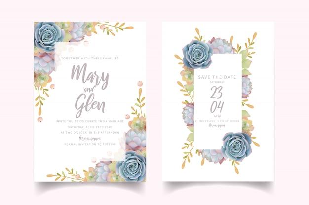Convite de casamento com suculenta floral