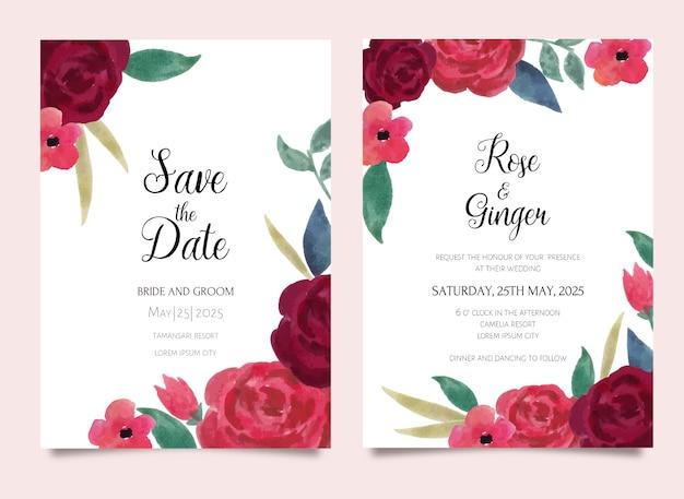 Convite de casamento com tema aquarela floral rosa