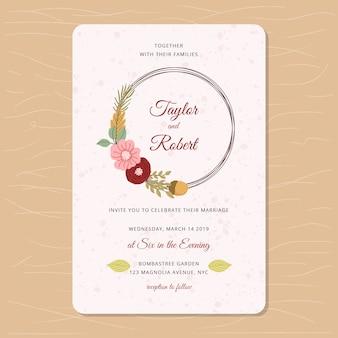 Convite de casamento com tema floral outono