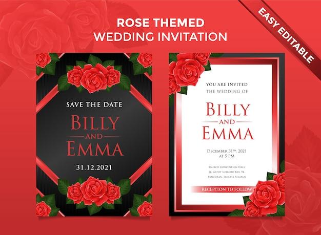 Convite de casamento com tema rosa vermelha fácil editável