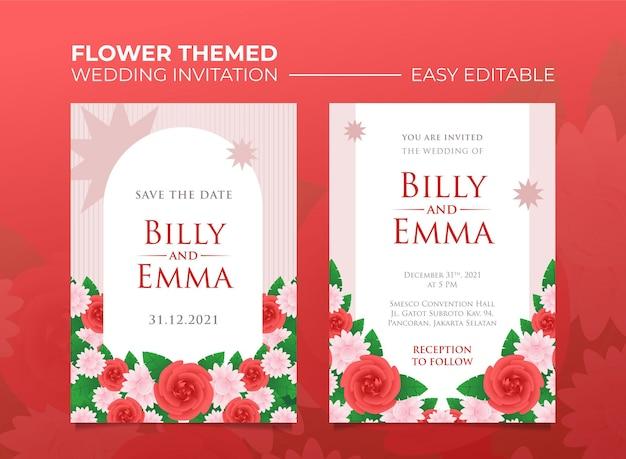 Convite de casamento com tema rosa