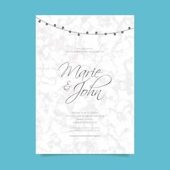 Convite de casamento com textura de mármore