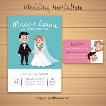 Convite de casamento com um casal fofo