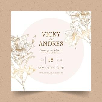 Convite de casamento com um modelo de flor grande