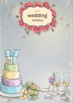 Convite de casamento com uma foto de itens de casamento, bolo, taças de vinho, um buquê de rosas, pombas.