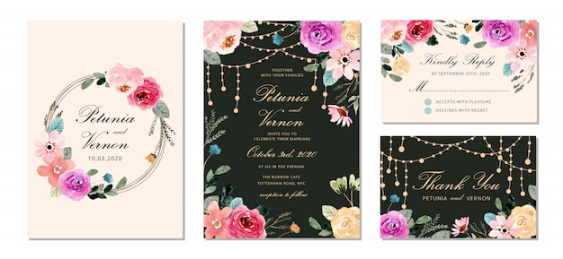 Convite de casamento conjunto com luz de seqüência de caracteres e modelo aquarela bonita flor,