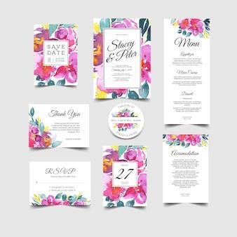 Convite de casamento conjunto de aquarela