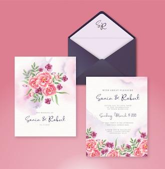 Convite de casamento conjunto modelo com flores em aquarela