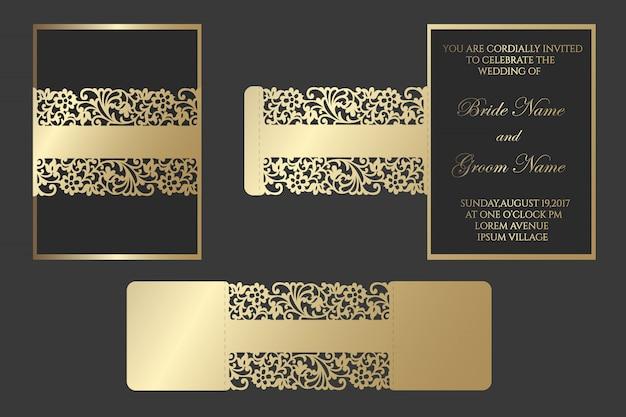 Convite de casamento cortado a laser bellyband. borda de renda, embrulho de cartão. design de envelope slide inn para plotter de corte.