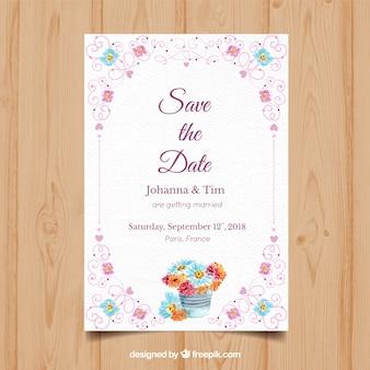 Convite de casamento de aguarela com moldura floral