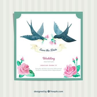 Convite de casamento de aquarela com pássaros e rosas