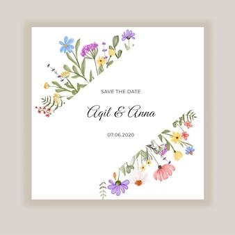 Convite de casamento de beleza com flores silvestres