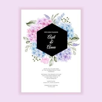 Convite de casamento de beleza flor hortênsia rosa aquarela azul