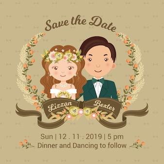 Convite de casamento de casal fofo