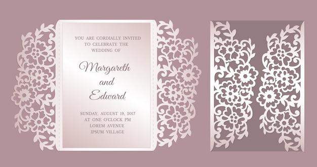 Convite de casamento de corte a laser floral dobra de portão. modelo para corte a laser.