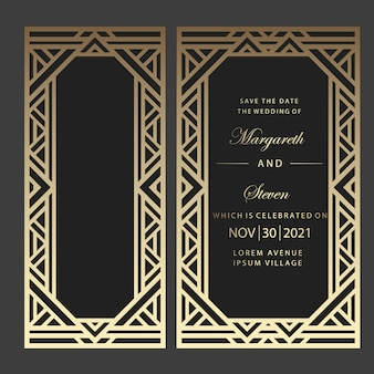 Convite de casamento de corte a laser geométrico. design art déco.