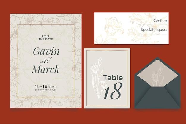 Convite de casamento de design floral
