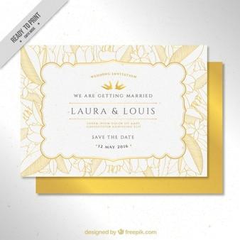Convite de casamento de esboços folhas amarelas