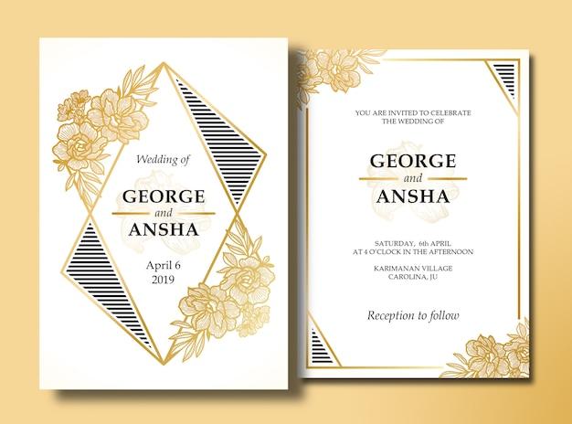 Convite de casamento de flor desenhada de mão