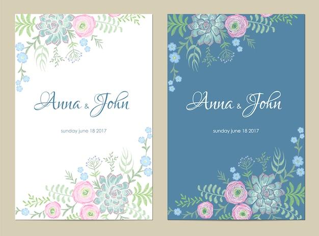 Convite de casamento de flores delicadas. salvar o design floral do cartão da data. ranúnculo rosa suculenta vintage bordado modelo
