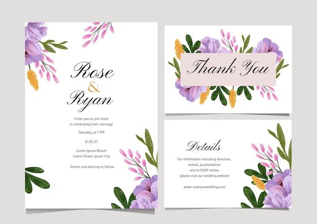 Convite de casamento de flores em aquarela