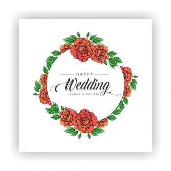 Convite de casamento de flores rosas