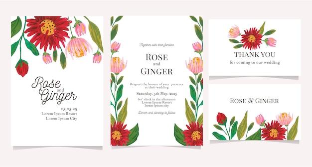 Convite de casamento de flores