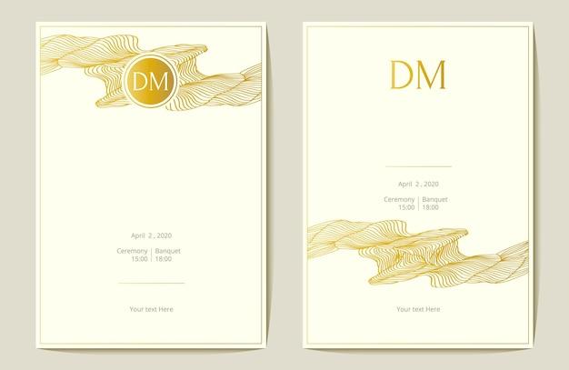 Convite de casamento de folha de ouro. onda abstaract. ilustração vetorial.