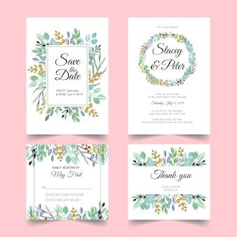 Convite de casamento de folha natural