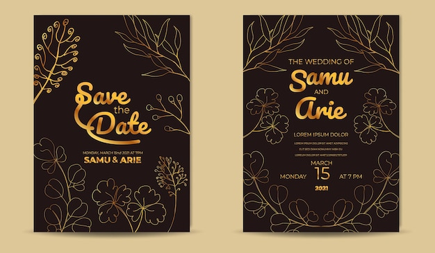 Convite de casamento de folhas tropicais abstratas